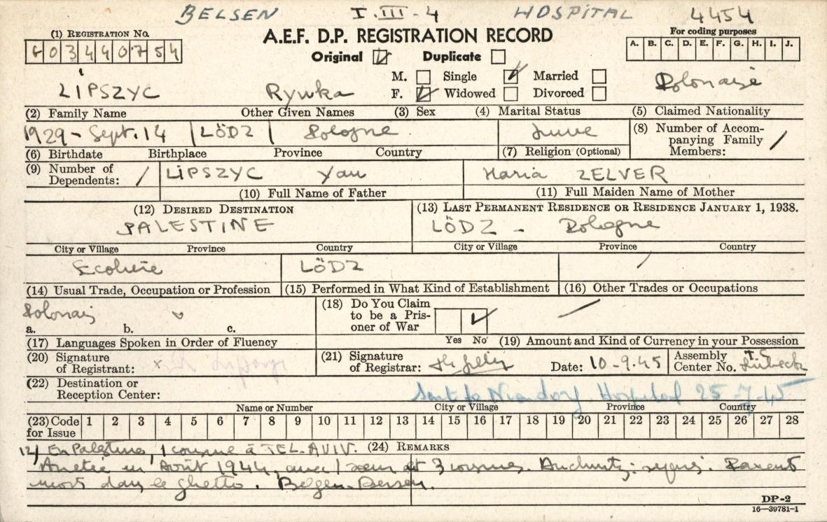 """Ostatni zachowany ślad po Rywce Lipszyc. Karta rejestracyjna DP (displaced person) czyli osoby """"przemieszczonej"""". Tym mianem określono osoby wyzwolone znajdujące się poza swoją ojczyzną. Źródło: ITS Digital Archive, Bad Arolsen,"""